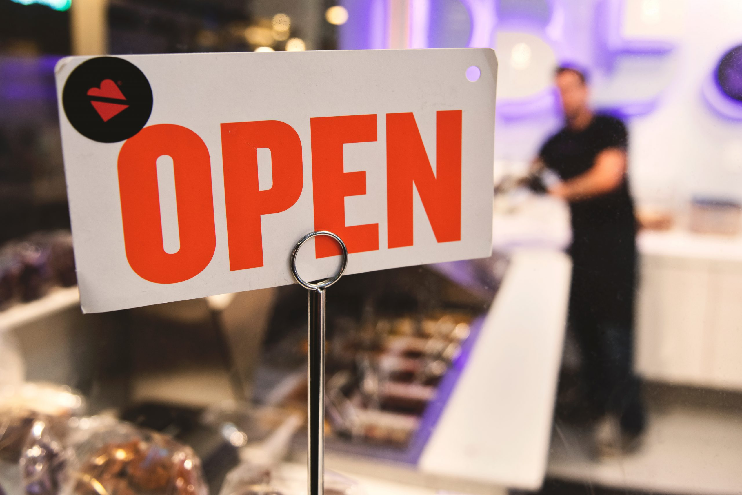Open sign in a small business
